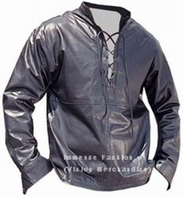 Men's Long Sleeves Leather Shirt Style MD-44
