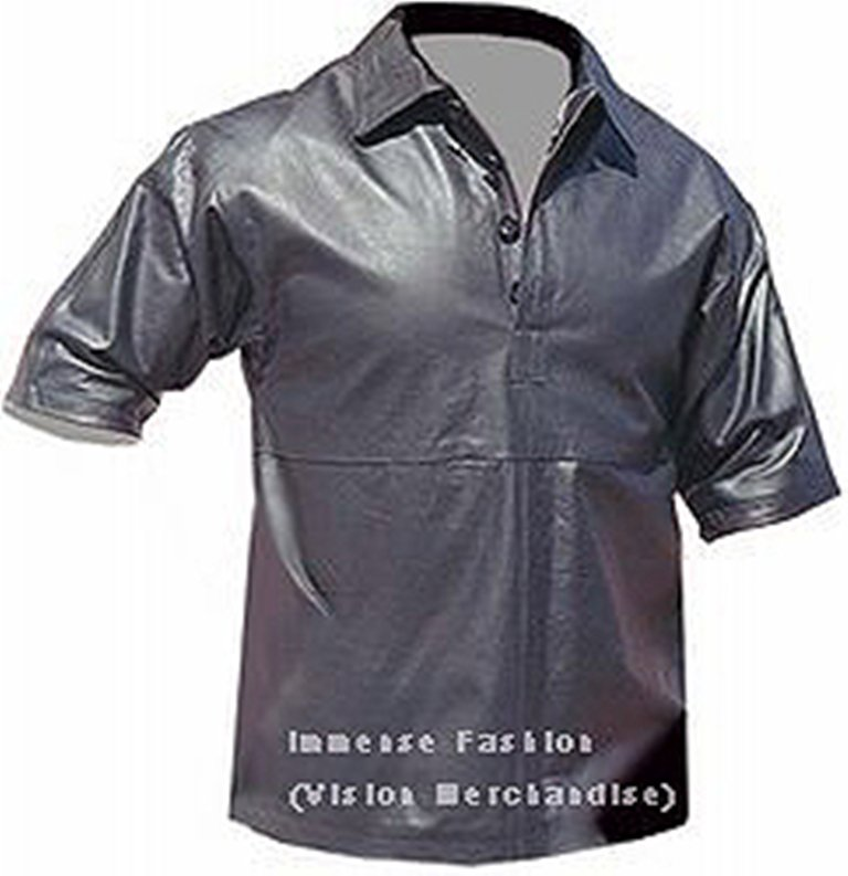Men's Half Sleeves Collar Style Leather Shirt Style MD-42