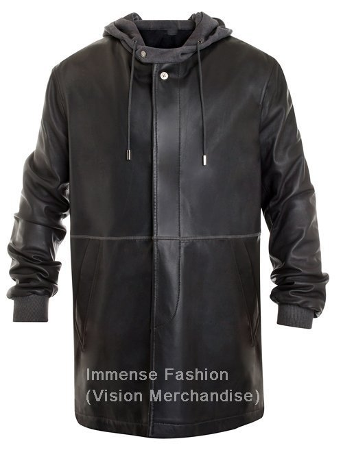 NWT Men's Big & Tall Fleece Hooded Trench Leather Jacket Style MD-40