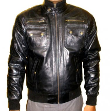 NWT Men's Bomber 6 pocket Sheep Skin Leather Jacket Style M75 sizes S to 4XL