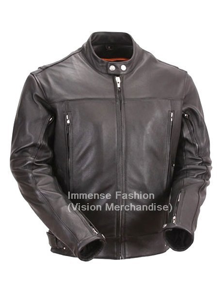 Men's Retro New Age Crossover Biker Leather Jacket Style MD-48