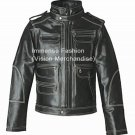 Men's Contrast Thread Fashion Biker Leather Jacket Style MD-104