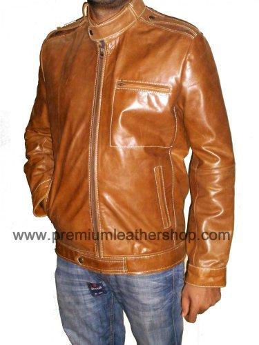 NWT Men's Classic Retro Biker Leather Jacket Style M78