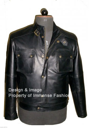 NWT Men's Cargo Pockets Bomber Leather Jacket Style M57