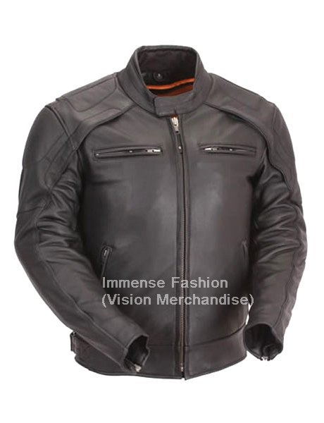 Men's Euro Biker Leather Jacket Style MD-56