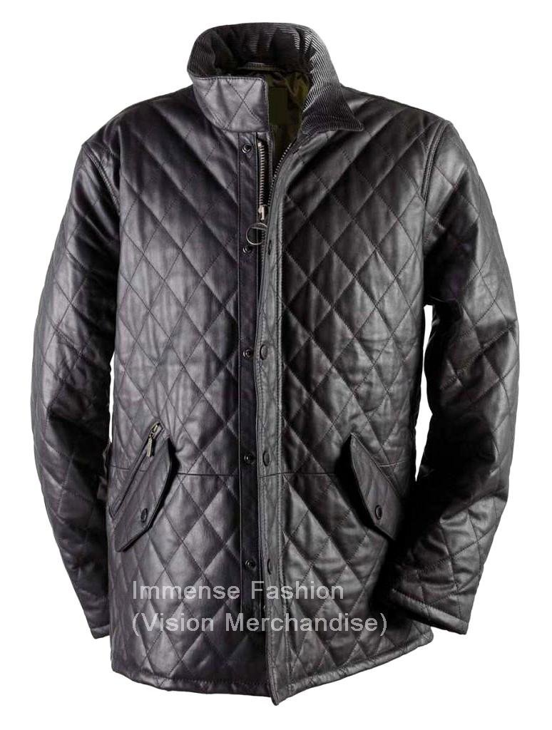 NWT Men's Big & Tall Quilted Diamond Stitch Leather Jacket Style MD-36BNT