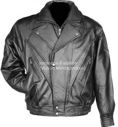 NWT Men's Touring Biker Leather Jacket Style MD-70