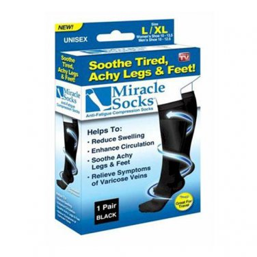 As Seen On TV Black Large Miracle Socks Anti Fatigue Compression Socks