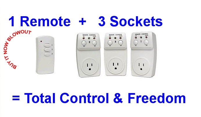 3 Remote Control Controlled Activated Socket Sockets NEW IN RETAIL PACKAGE NEW LOW PRICE!