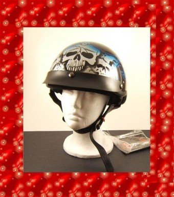 HCI LIGHTEST DOT MOTORCYCLE HELMET BLUE TRIBAL SKULL LARGE NEW