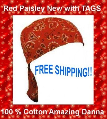 Danna Head Wrap Amazing Danna Red Paisley NWT.$3.95 FREE SHIPPING