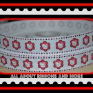 7/8 inch Hello Kitty White Grosgrain Ribbon with Red Flowers (5 yards)