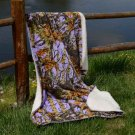 Lavender Camo 50x70 Sherpa Mink Throw Style Blankets