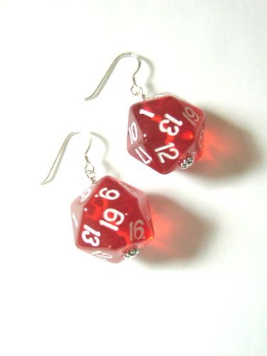 1 Pair d20 RPG Dice Earrings Gamer Chic-Pick your Color
