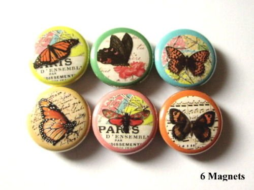 """Beautiful Butterfly Collage 1"""" Magnets Set of 6 Nature"""