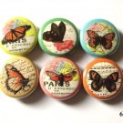 "Butterflies Retro Collages 1"" Pins  Pinbacks Set of 6"