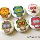 "Funky Day of the Dead Sugar Skulls 1"" Pins Badges"