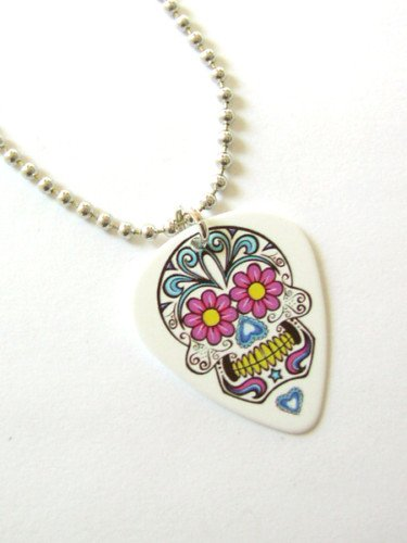 Funky Guitar Pick Necklace Day of the Dead Skull