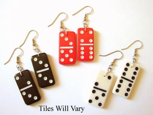 3 Mini Domino Dominoes Fun Earrings Black Cream Red