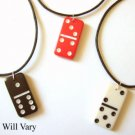 3 Mini Domino Dominoes Pendant Necklace Black Cream Red