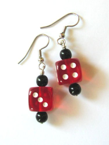 1 Pair Dice Earrings 12mm Bunco Game - Pick your Color