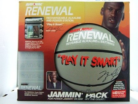 Michael Jordan Basketball - Rayovac Renewal Rechargable Alkaline Batteries And Power Station