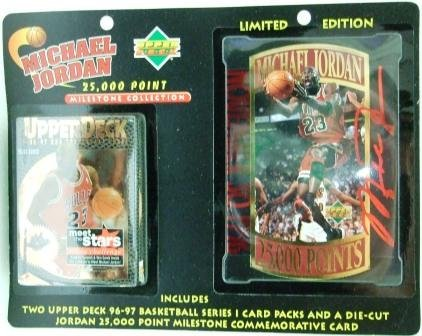 1996/97 Upper Deck  Limited Edition Michael Jordan 25,000 Point Milestone Commemorative Die-Cut Card