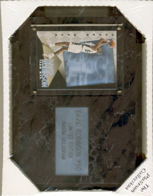 "David Robinson #50 - San Antonio Spurs - The Platinum Collection - 6"" X 8"" Black Marble Plaque"