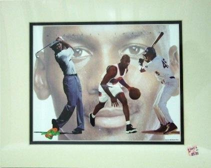 1996 - Michael Jordan -  3 Sports - Cartoon Art - Space Jam - Warner Bros. - Limited Edition Print