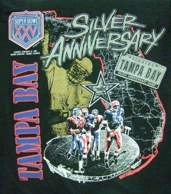 1991 - Super Bowl XXV Champions - Silver Anniversary - Giants vs. Buffalo - Vintage T-Shirt