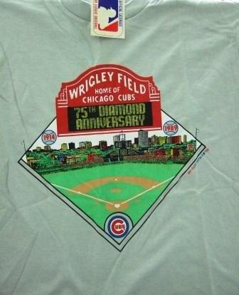 1914-1989 - Chicago Cubs - Wrigley Field - 75th Diamond Anniversary - Vintage T-Shirt