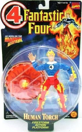 1996 - Toy Biz - Marvel Comics - Fantastic Four - Human Torch - Toy Action Figure