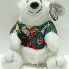 1997 - Collectible Coca-Cola Brand - Bean Bag Plush - Polar Bear - In Argyle Shirt
