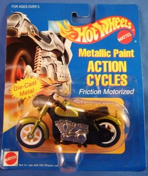 1995 - Mattel - Hot Wheels - Action Cycles - Green Metallic Paint - Die-cast Metal