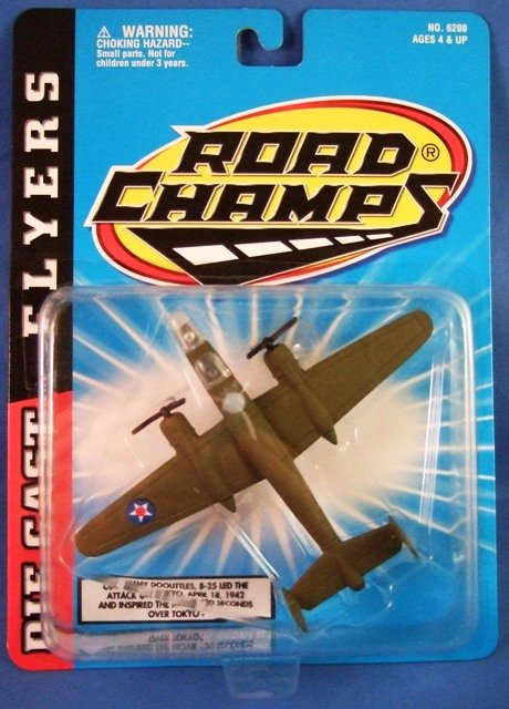 1997 - Jakks Pacific - Road Champs - Die Cast Flyers - B-25 - Toy Air Plane