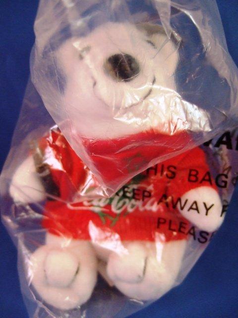 1997 - Collectible Coca-Cola Brand - Bean Bag Plush - Bear With Sweater - in Baseball Cap