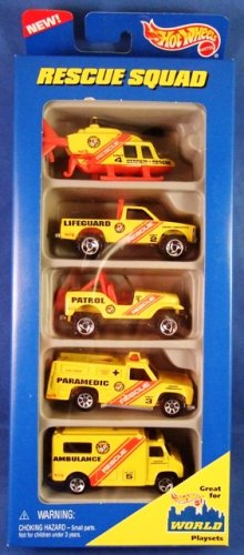 1996 - Mattel - Hot Wheels - 5 Car Gift Pack - Rescue Squad