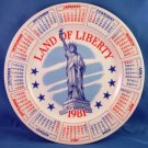 1981 - LAND OF LIBERTY - Calendar Red, White and Blue - Collectors Plate