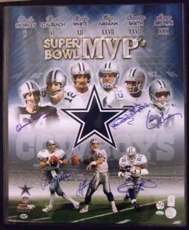 Dallas - Super Bowl MVP's - Auto - Photo - 6 Signatures - Troy Aikman, Roger Staubach, Emmitt Smith