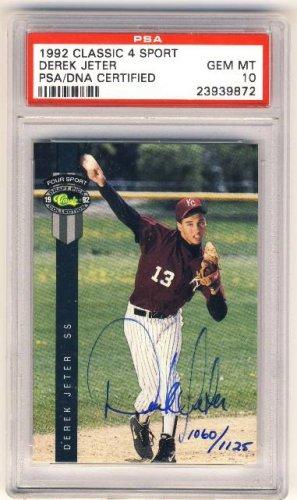 1992 - Classic - 4 Sport - Autograph - Derek Jeter - Rookie Card - PSA 10 - Gem Mint