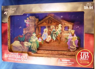 Holiday Time - Musical Animated - Nativity Shadowbox - Christmas Decoration