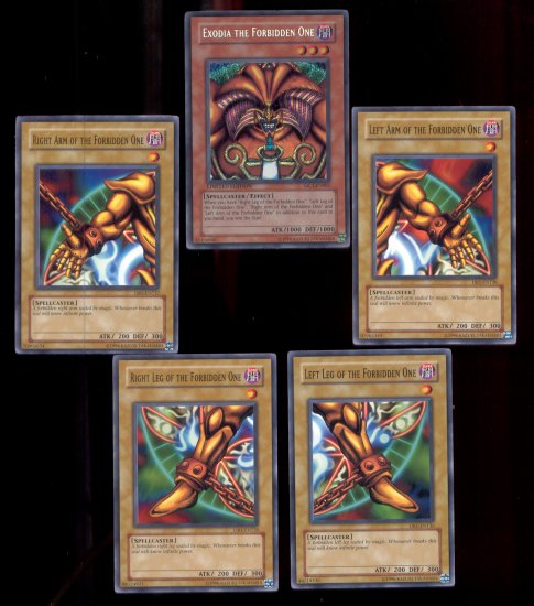 COMPLETE 5 CARD EXODIA THE FORBIDDEN ONE GOD CARD SET DB1, MC1