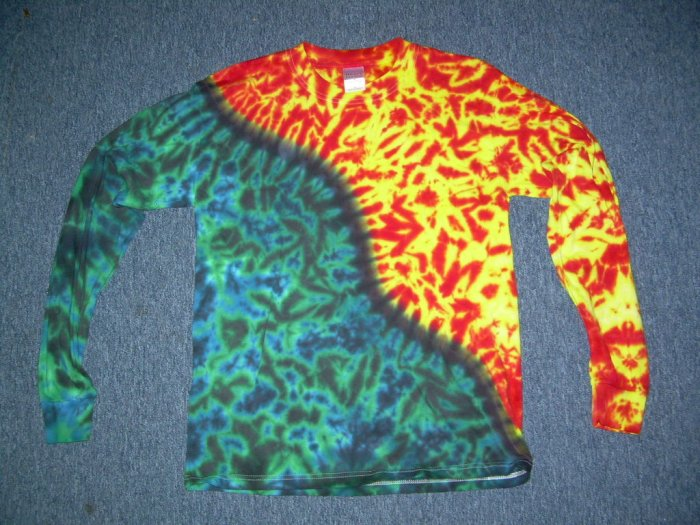 Mens Long Sleeve Tie Dye Shirt Medium #4