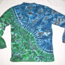 Tie Dye Men's Long Sleeve 3 Button Henley Medium #2