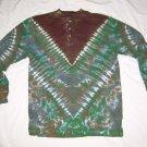 Tie Dye Men's Long Sleeve 3 Button Henley Medium #3