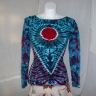 Womens Long Sleeve Tie Dyed T-Shirt Small #2