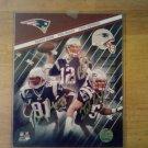 Tri Signed Unframed 8x10 Photo by 3 New England Patriots Tom Brady, Tedy Bruschi, Randy Moss W/COA