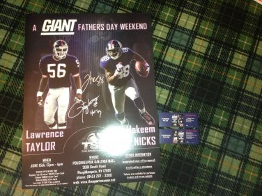 New York Giants LAWRENCE TAYLOR HAKEEM NICKS SIGNED EVENT POSTER GIANTS COA