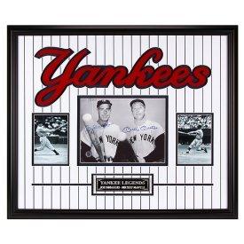 "Yankee Legends in Pinstripes"" DiMaggio & Mantle Duel Auto Amazing DBL Matting & Frame w/COA"