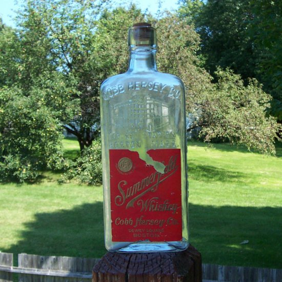Old Summerfield Whiskey Bottle - Cobb Hersey Co. Boston MA